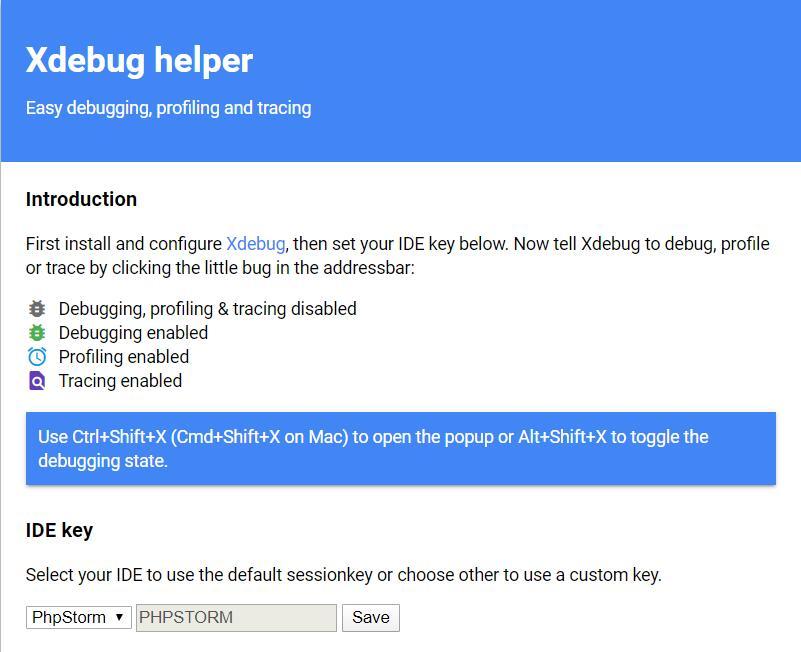 Xdebug helper 选项页
